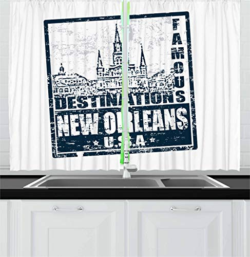 Ambesonne New Orleans Kitchen Curtains, Famous Destinations in Louisiana State Architecture with Grunge Effect, Window Drapes 2 Panel Set for Kitchen Cafe Decor, 55