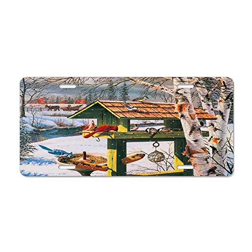 Gator Birdhouse - Kingsinoutdoor Winter Fun Birds Birdhouse Auto Truck Car Front Tag Personalized Aluminum Metal License Plate Frame Cover 12 x 6 Inch