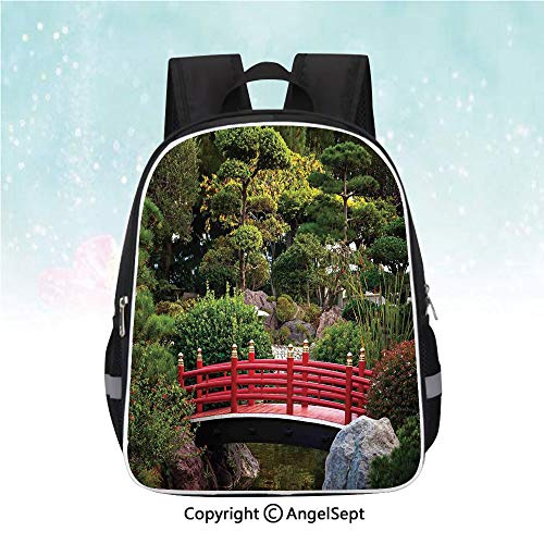 Schoolbag for Kids,Tiny bridge Over Pond Japanese Garden Monte Carlo Monaco Along With Trees and Plants Decorative,13