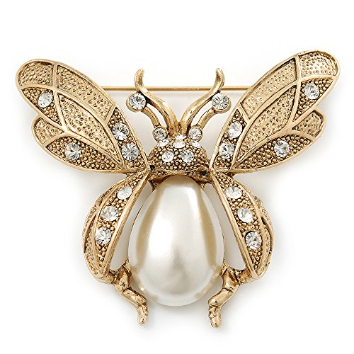 Crystal Simulated Pearl Brooch (Vintage Inspired Crystal, Simulated Pearl 'Bumble Bee' Brooch In Antique Gold Tone - 60mm Across)