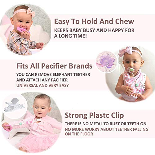 Teething Pain Relief BPA Free Silicone Toy and Pacifier Clip Holder for Stylish Little Girls, Pink Elephant Teether Toys, Best for Freezer, 6 12 Months 1 Year Old Baby Shower Gifts