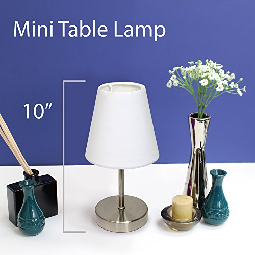 Simple Designs Home LT2013-WHT Sand Nickel Simple Designs Mini Basic Table Lamp with Fabric Shade, 4.88