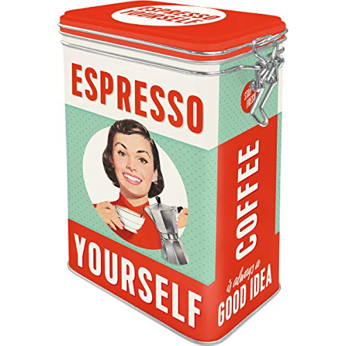 Nostalgic-Art 31104 Say it 50's - Espresso Yourself, Metal Clip Top Box, Coffee Tin, Aroma Protection, Storage Tin (Vintage 50s Canisters)