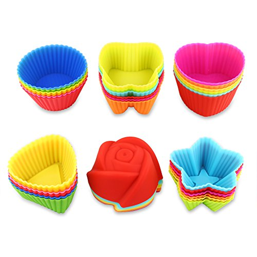 (Fantastic Zone 36 Pcs Reusable Silicone Muffin Cups, 6 Shapes with 6 Colors, Non-Stick, Food Grade Heat Resistant (Up to 480°F) Mini Baking)