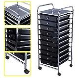 Storage Cart Scrapbook Paper Office School 10 Organizer Utility Drawer Rolling Black