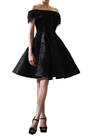Gorgeous Bride Short Ball Gown Black Cocktail Prom Dress Satin Lace: Amazon.co.uk: Clothing