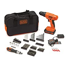 BLACK+DECKER BDC120VA100 20-Volt MAX Lithium-Ion Drill Kit with 100 Accessories