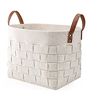 LoongBaby Felt Storage Baskets With Handles Soft Durable Toy Storage Nursery Bins Home Decorations (White)