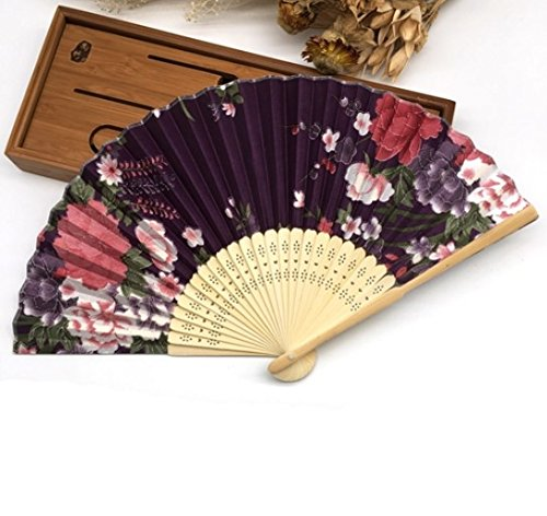 Purple 100 Pcs/Lot Paper Gift Box Printing Floral Folding Hand Held Fan Wedding Accessories Decoration by Hand Fan