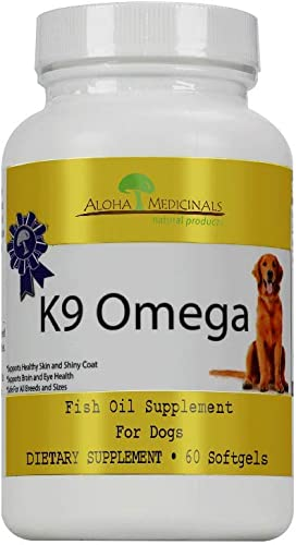 Aloha Medicinals – K9 Omega – Certified Organic – 3 Blend Fish Oil Formula Veterinarian Recommended Anti-Inflammatory – Optimum Cell Repair- Cardiovascular Support – Healthy Skin and Coat 60 Soft Gels