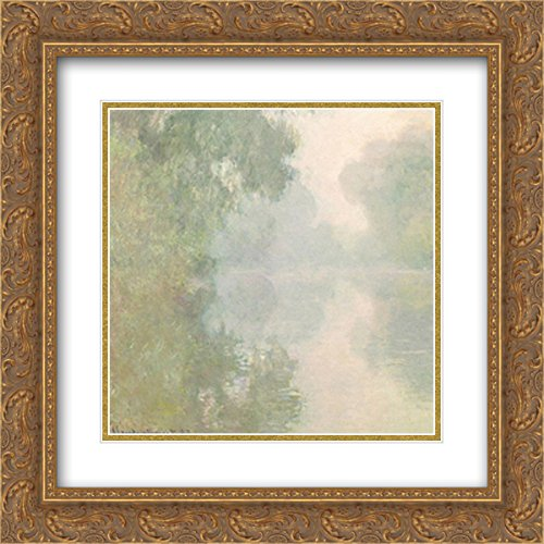 (The Seine at Giverny, Morning Mists, 1897 2X Matted 18x15 Gold Ornate Framed Art Print by Claude Monet)