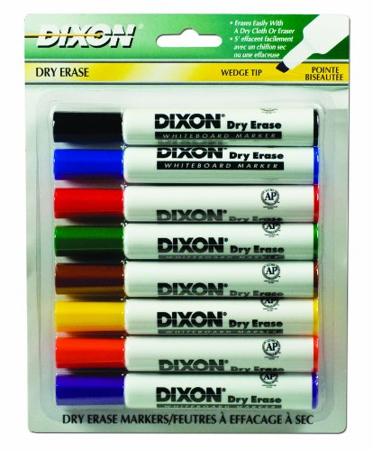Dixon Dry Erase Markers, Wedge Tip, Pack of 8 Assorted Colors (92180)