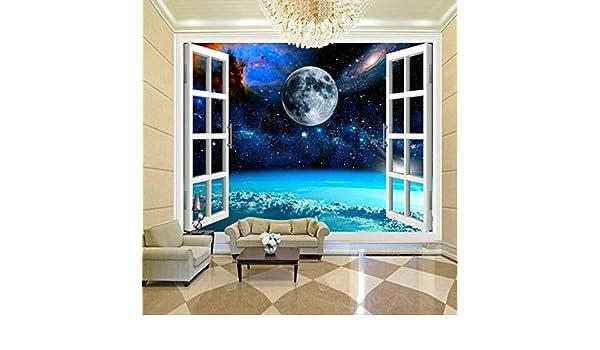 Mural personalizado Papel tapiz de fotos Ventana 3D Espacio ...