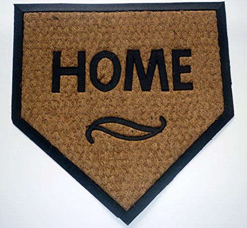 Geo Crafts G111 TC Rubber Back Home Plate-Flat Weave Doormat Baseball Home Plate Size