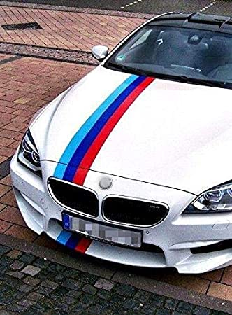 59x6 // 150x15CM //////M Colors Strip Graphic Sticker Decal for BMW Exterior Hoo M Color Trunk Roof Side Decoration Comestic