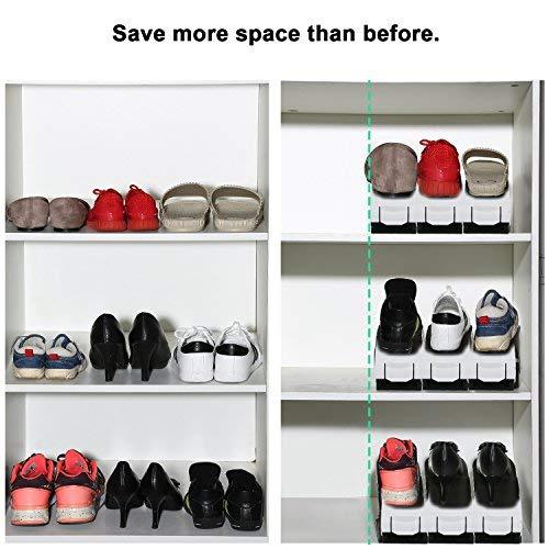 Doppel Schicht Schuheorganizer Wei/ß Plastik Doppel Schicht Space Saver Ablagegestelle Halter Hifeel St/ück Schuh Slots Verstellbare Schuhstapler f/ür Plastik Schuhregal