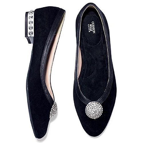 Avon Jewel - Womens Cushion Walk Genuine Suede Jeweled Flat, Black with Silver Jewels (11)