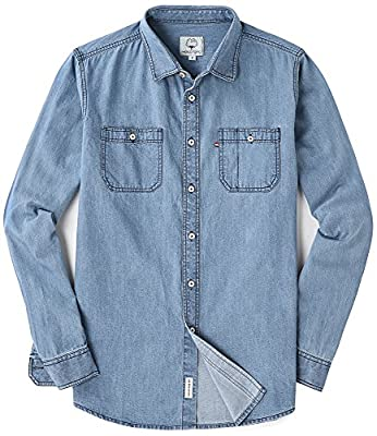 MOCOTONO Men's Snug Fit Long Sleeve Denim Shirt