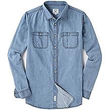 MOCOTONO Men's Long Sleeve Denim Double-Pocket Shirt