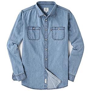 MOCOTONO Men's Snug Fit Long Sleeve Denim Shirt