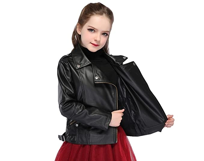 14b4e8cc3 Winter Coat for Toddler Girls Motorcycle Jacket Leather Children ...