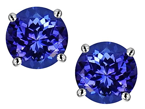 Star K Round 7mm Simulated Tanzanite Earrings Studs Sterling Silver