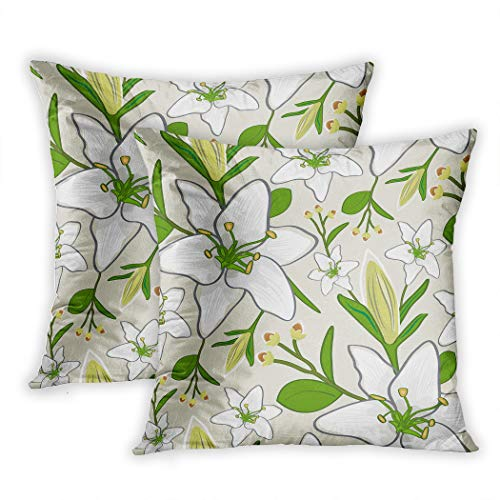 Houlor Set of Two Throw Pillow Covers Seamless Wallpaper Pattern 18 x 18 Inches Cushion Square Pillowcase Decoration for Living Room Bedroom Dorm Hidden Zipper ()