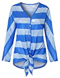 Viracy Womens Casual Shirts, Juniors Womens Loose Blouse Long Sleeve Split V Neck T-Shirt Waist Tie Knot Top Seamless Stitching Striped Henley Flattering Tunic Blue and White XL
