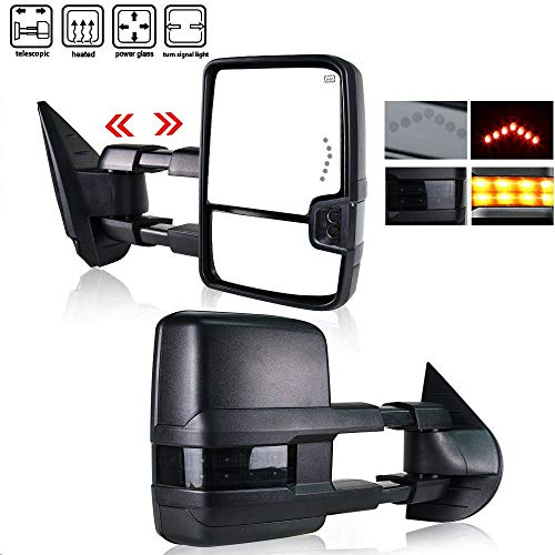 Spead-Vmall DOT Approved Towing Mirrors Side View Tow Mirrors For 2007-2013 Chevy Silverado GMC Sierra 1500/2500/3500 With Power Heated And Turn Signal Arrow Light 01 Dodge Ram 1500 Mirror