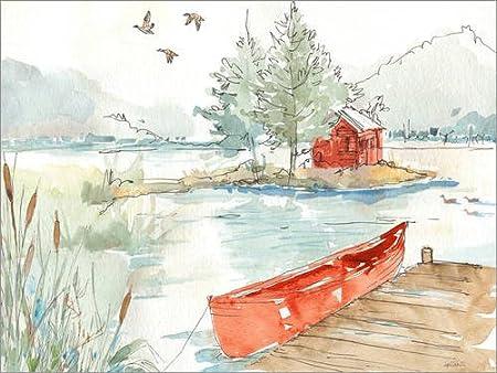 Posterlounge Lienzo 90 x 70 cm: Lakehouse II Red de Anne Tavoletti/Wild Apple Graphics - Cuadro Terminado, Cuadro sobre Bastidor, lámina terminada sobre Lienzo auténtico, impresión en Lienzo