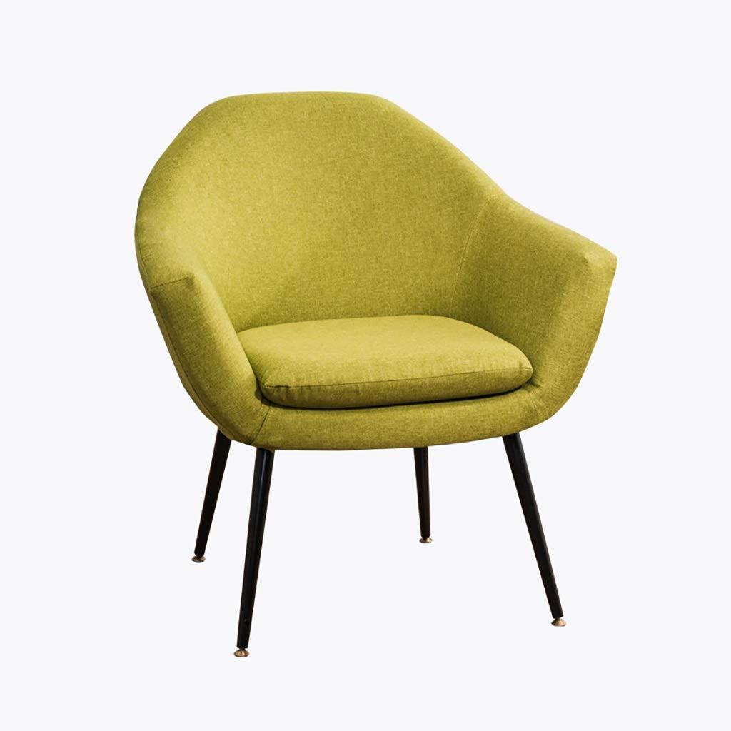会議室用リネン布張りのアクセント金属脚付きアームチェアソファーベッドルームリビングルームダイニングキッチンレセプションラウンジ装飾椅子現代的 (色 : 緑) B07SCSMCLD 緑