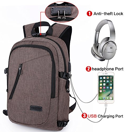 CIOR Business Laptop Backpacks Anti-theft Lightweight Travel Bag waterproof with USB Charging Port headphone Port and Lock Fits Under 17-Inch Notebook for Women & Men and Kids DND0808 (Kids Laptop Bags)