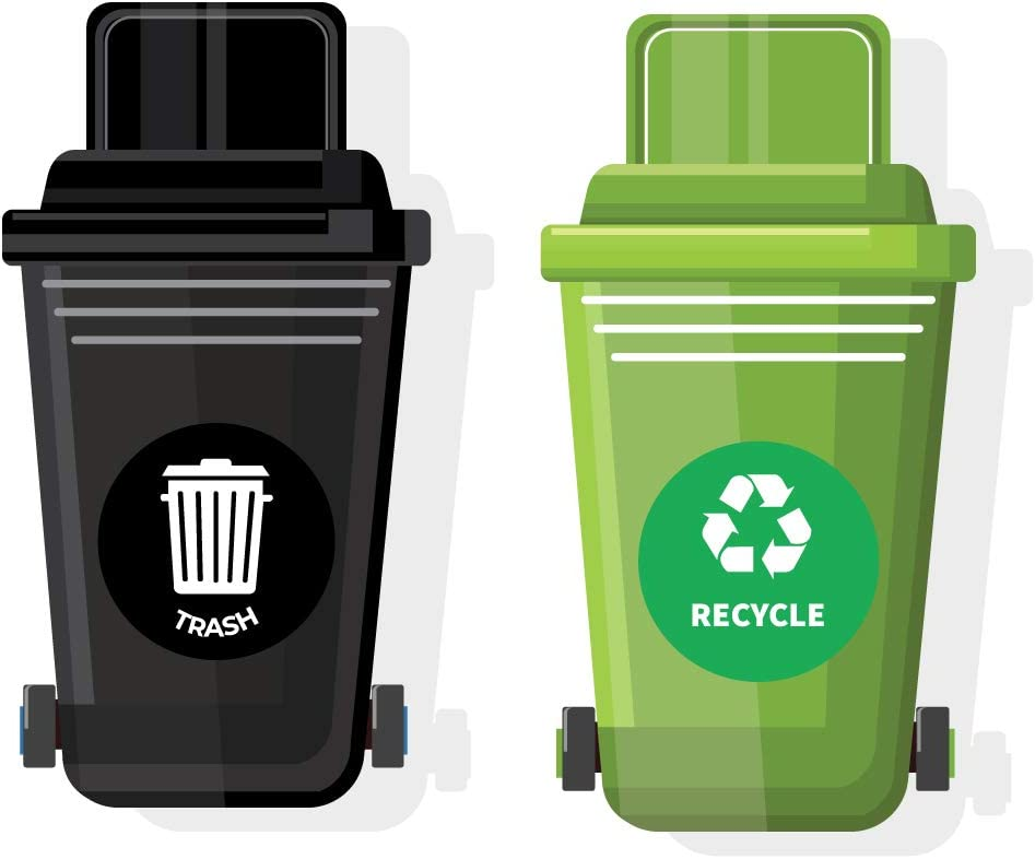 Recycle And Trash Decal/Sticker Signs (8.5 inches) - Waterproof-2pk; Removable, Durable, Air-Release, Weather-Resistant, Long Lasting Vinyl Labels For Recycling And Trash Bins, Indoor And Outdoor Use.