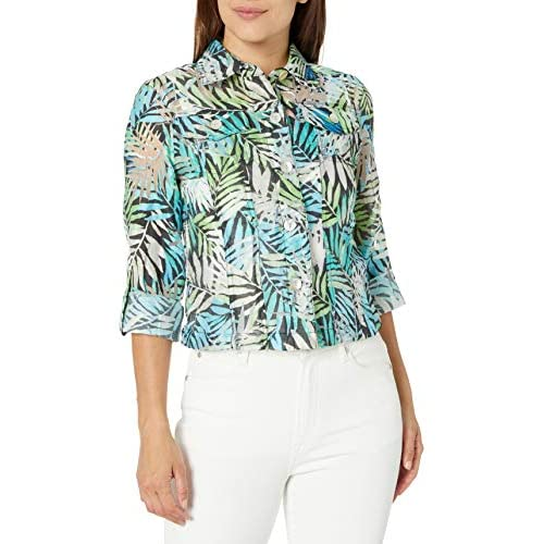 Ruby Rd Womens Petite Button-Front Tropical Palms Printed Crinkle Burnout Shirt Jacket