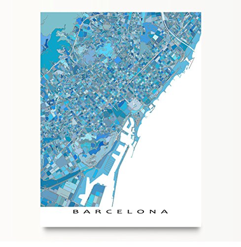 Barcelona Map Print, Spain Europe, City Wall Art Poster