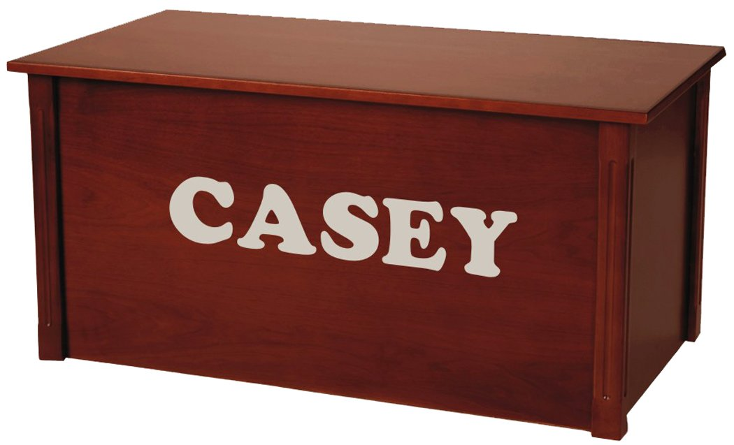 Wood Toy Box, Large Cherry Toy Chest, Personalized Cookie Font, Custom Options (Standard Base - Silver Lettering) by Wood Toy Box