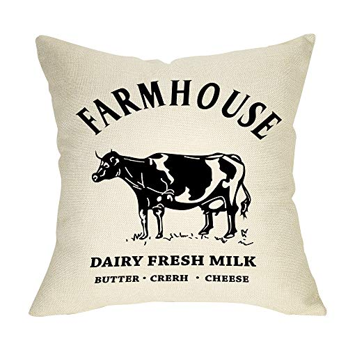 Pycat Dairy Fresh Milk with Cow Throw Pillow Cover 18 x 18 for Couch Farmhouse Decorations Home Décor Decorative Pillowcase Cotton Linen Cushion Case for Sofa