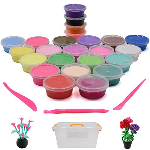 e Modeling Clay Artist Studio Toy, 24-Pack of Bright Colors Clay Set, Kids' Art Clay & Dough w/ Storage Box & Clay Tools, Super Soft & Never Dries Out (Dough Super Soft Modeling Clay)