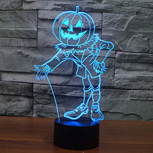 Pumpkin Guardian 3D Optical Illusion Lamp Night Lights, YKL WORLD 7 Color Changing Toys Bed Room Halloween Party Favor Supplies Decor Christmas Birthday Gifts for Kids Boys -