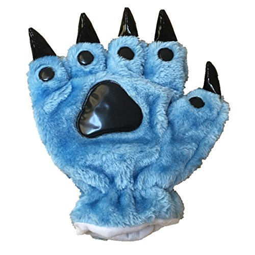 Unisex Bear Plush Paw Claw Gloves Soft Winter Mittens Blue
