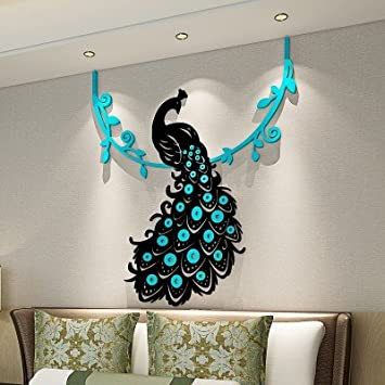 Marvelous Buy Peacock Crystal Acrylic Wall Sticker 3d Three Dimensional Living Room  Bedroom Home Decoration (Medium, Light Blue) Online At Low Prices In India  ... Part 18
