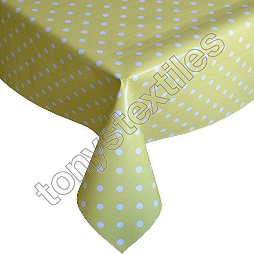 Tony's Textiles Plastic Reusable Tablecloth Wipeable PVC Vinyl Party Garden Kitchen Kids Yellow & White Polkadot Rectangle (180 x 137cm)
