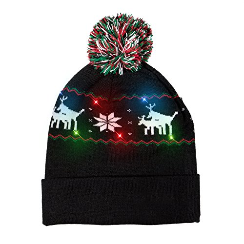 Windy City Novelties LED Light-up Knitted Ugly Sweater Reindeer on Reindeer Holiday Xmas Christmas Beanie - 3 Flashing Modes -