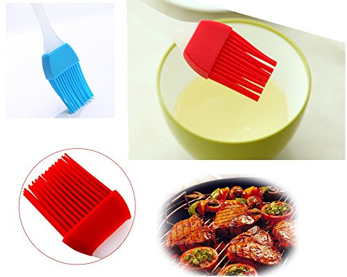 Silcony Heat Resistant Basting Pastry Brushes 7-Inches Pack of 3, Assorted Colors (3, 7 Inches) 3 PURE SILICONE & HEAT RESISTANT - Made of 100% food grade silicone material and BPA free. It can withstand heat up to 40-250 degrees. SOFT & STRONG - Comfortable handling with a nice and flexible grip. The metal rod under the silicone handle makes it easy to use for BBQ & extreme heat. Also, the long handle will keep you safe from heat pressure. SAFTEY GUARANTEED - Safe to use in Oven, Microwave, Dishwasher & Freezer. The matrial won't melt under any heat pressure and safe to use for BBQ, baking, even cooking in a frying pan.