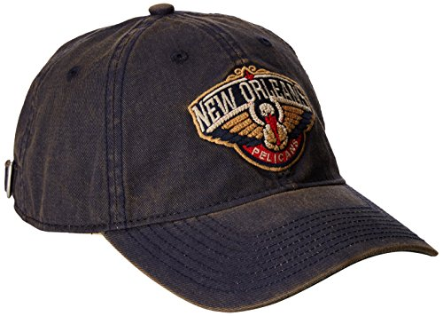 fan products of NBA New Orleans Pelicans Men's Raised Chain Stitch Adjustable Slouch Hat, Navy, One Size