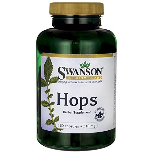 Swanson Hops Sleep Mood Calm Brain Cognitive Health Support Herbal Supplement 310 mg per Capsule (620 mg per 2-Capsule Serving) 180 Capsules (Caps)