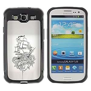 """Hypernova Defender Series TPU protection Cas Case Coque pour Samsung Galaxy S3 III I9300 [Barco pirata Kraken Monster Mito""""]"""