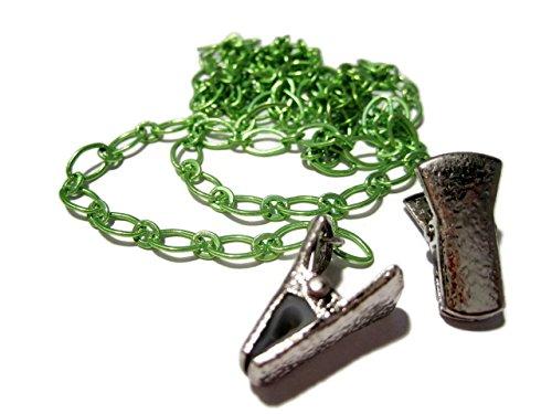 - ATLanyards Green Chain Clip Eyeglass Holder - Green Chain Clip Eyeglass Holder - Alligator Clip Eyeglass Necklace