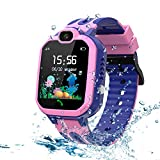 LDB Direct Kids Smart Watch,LBS/GPS Tracker SOS Call Waterproof Smartwatch Phone with Touch Screen Two Way Call Game Compatible iOS Android 2G for Boys Girls Christmas Birthday Gifts (Pink)
