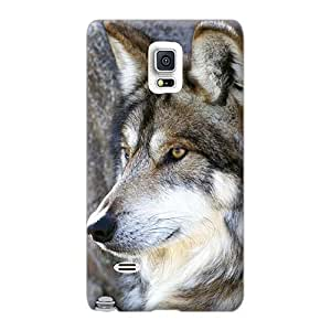 Perfect Hard Phone Case For Samsung Galaxy Note 4 (Ire3096fIXp) Provide Private Custom Trendy The Majestic Beautiful Gray Wolf Series